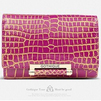 2016 New Gete Siamese Real Crocodile Skin Belly Women Clutches Short Wallet 24 K Gold Lock