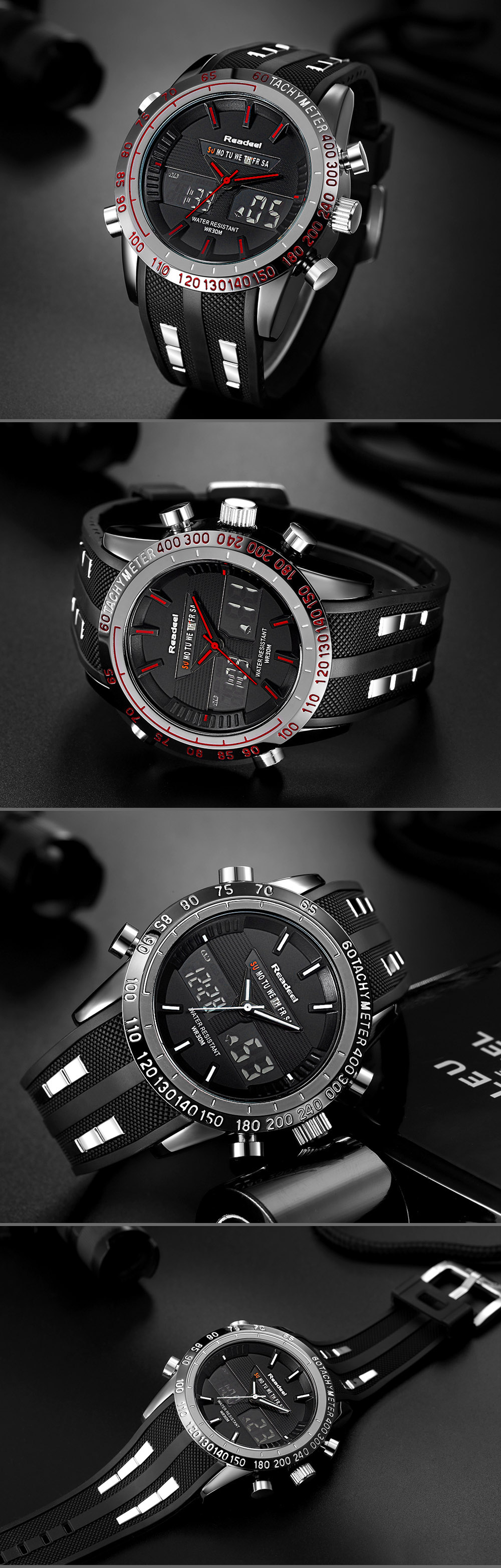 Brand New Men Sports Watches Waterproof Mens Military Digital Quartz Watch Alarm Stopwatch Dual Time Zones relogio masculino