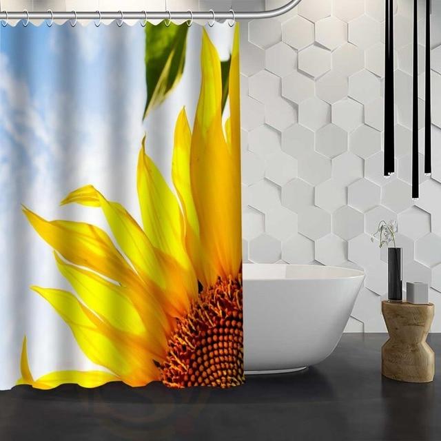 Custom Sunflower Shower Curtain With Hooks Fabric For Bathroom WJY117