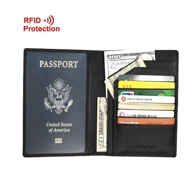 FancyStyle Hommes Pliante En Cuir De Noir RFID Porte Passeport - Porte passeport cuir
