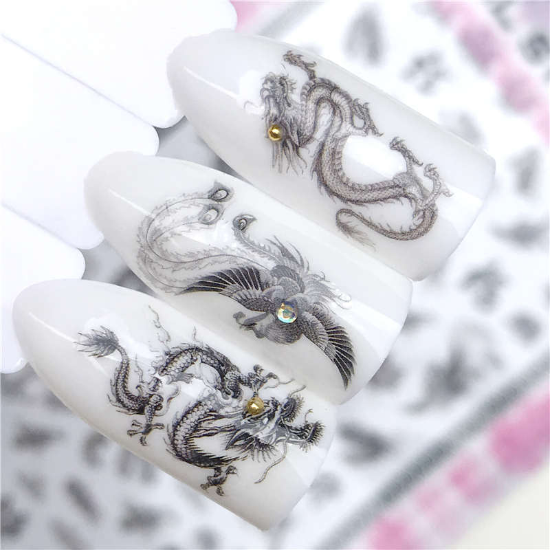 YZWLE 3D Nail Stickers Black Chinese Style Dragon / Eagle ...