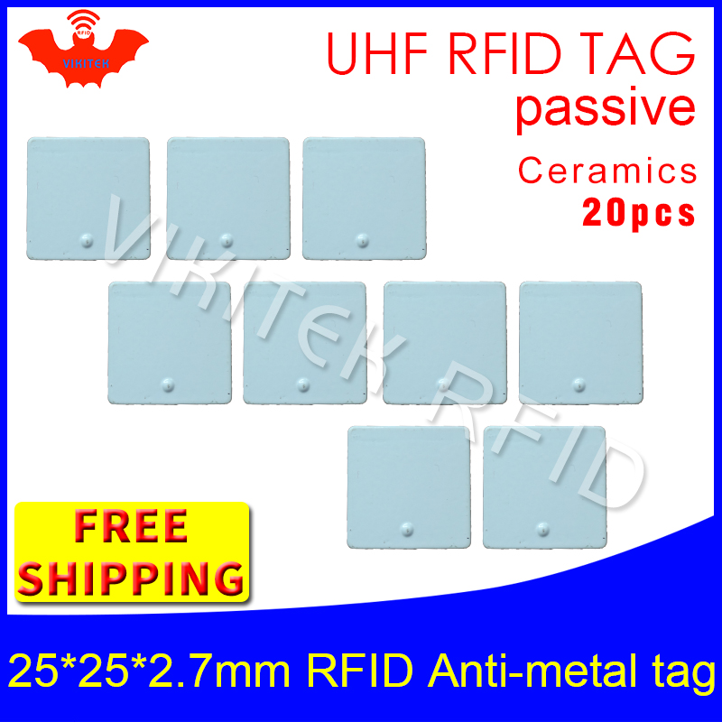 UHF RFID metal tag 915m 868m EPC ISO18000-6c 20pcs free shipping tools management 25*25*2.7mm square Ceramics passive RFID tags uhf rfid metal tag 915m 868m epc iso18000 6c 20pcs free shipping tools management 12 7 1 2mm thin ceramics passive rfid tags
