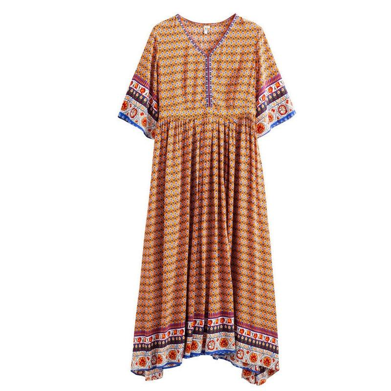 Été Orange Femme Bohème Élégant De Femmes 2018 Red Robes Inman Style Longue Robe Plage Vacances Printemps qCHU0