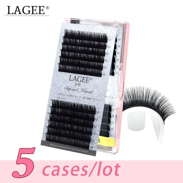 Lagee 5 casos/lote todo o tamanho extensões de cílios individuais premium falso sintético vison cílios falsos macio e natural