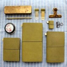Fromthenon Cuaderno para viajeros, agenda de cuero genuino verde oliva 2018, nota para diario Midori, diario Personal Vintage, papelería