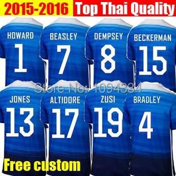 50ce7518c14 NEW 15 16 USA Soccer Jersey Shirts Blue Away 2015 Tim HOWARD Dempsey YEDLIN  Jones 10 Donovan America Jersey Football Shirts
