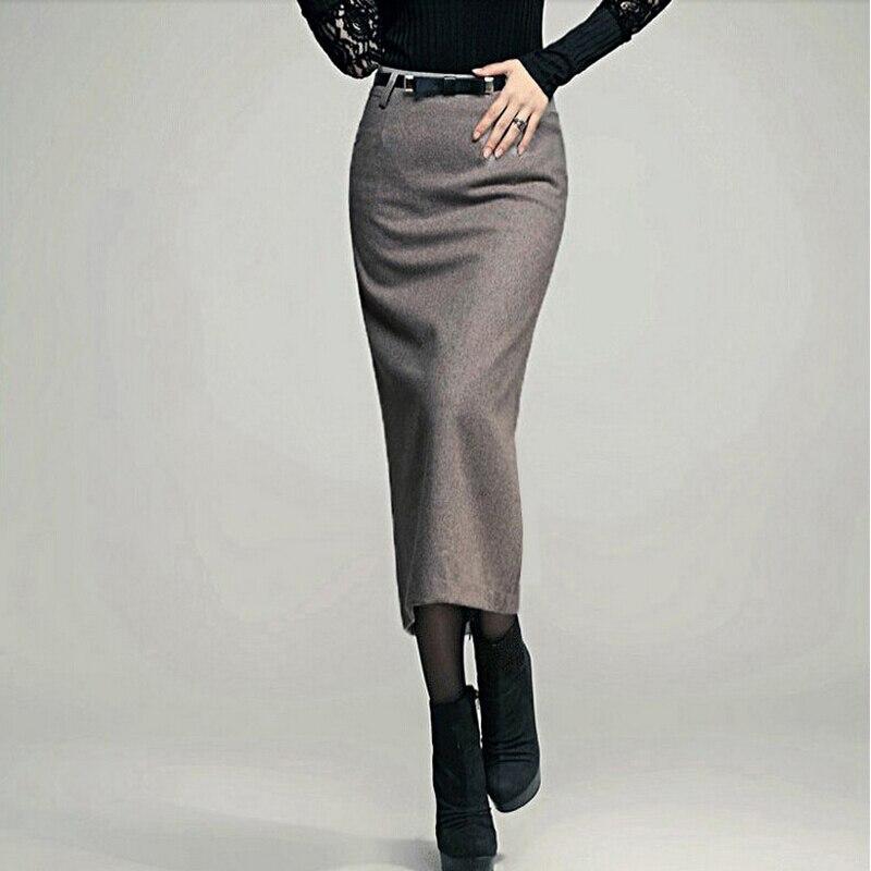 Jupe Longue Pour Femme Jupe Crayon Epaisse Taille Haute Jupe Crayon Elegante Slim Grande Taille En Laine Collection Automne Hiver Aliexpress