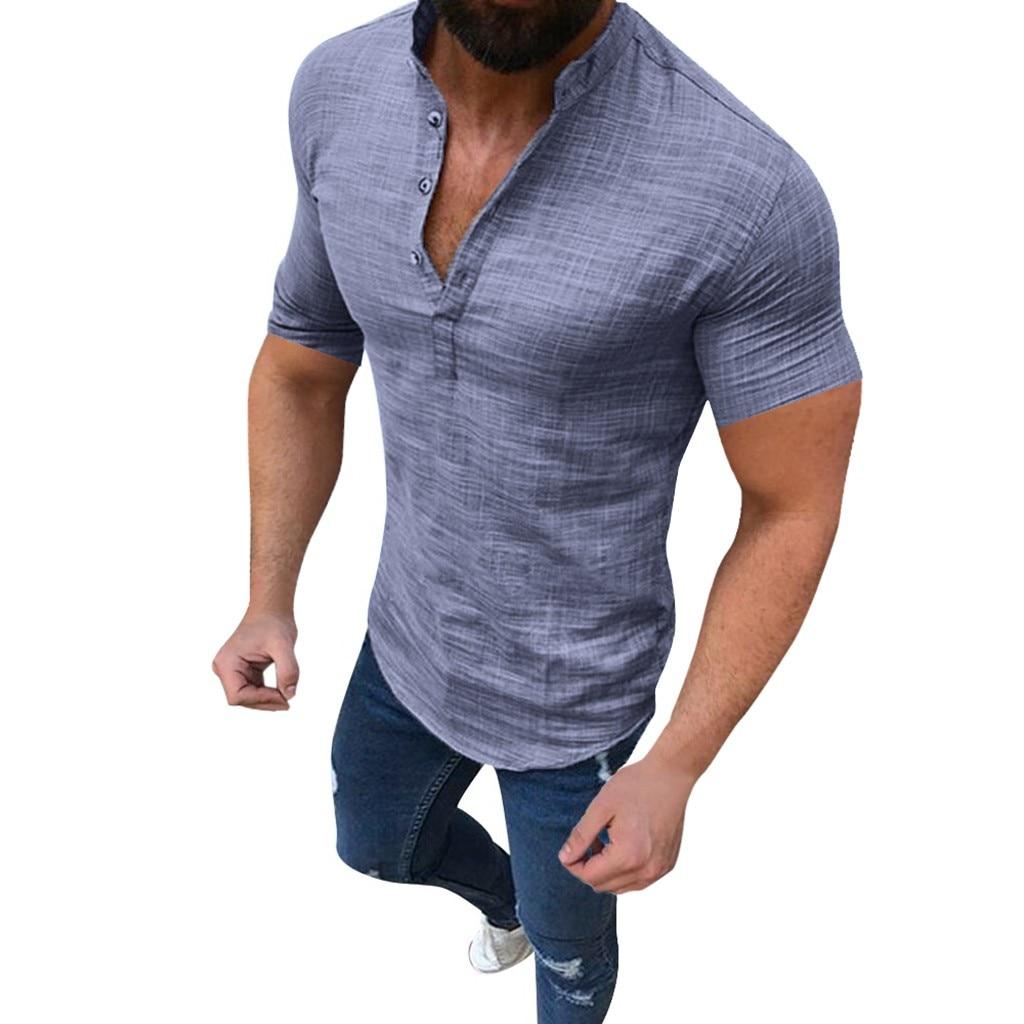 Men's Casual Blouse Cotton Linen shirt Loose Tops Short Sleeve Tee Shirt S-2XL Spring Autumn Summer Casual Handsome Men Shirt 4