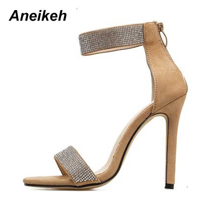 ... Aneikeh 2018 Bling Bling Rhinestone Stiletto High Heels Dress Wedding  Shoes For Ladies Open Toe Summer ... 64f31c1ceb03