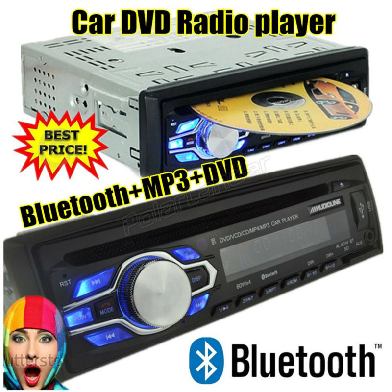 New 1 din 12V Car radio bluetooth DVD VCD CD tuner Stereo FM MP3 Audio Player Phone USB/SD MMC Port Car audio bluetooth 1 DIN