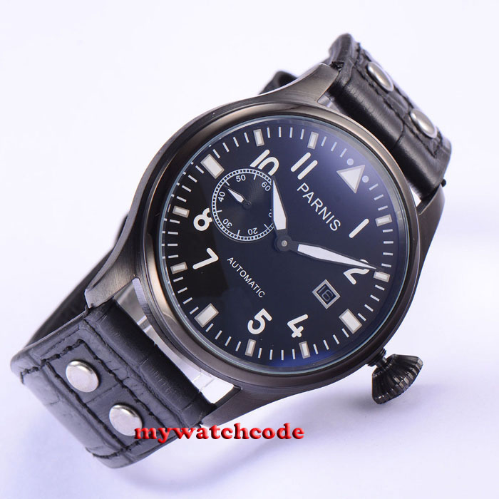 47mm parnis black dial PVD case date ST automatic movement mens watch P563 цена и фото