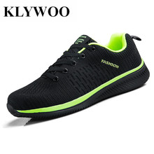 hot deal buy klywoo flyknit sneakers men casual shoes plus size 45 lace-up mesh men shoes casual basket light breathable men shoes sneakers