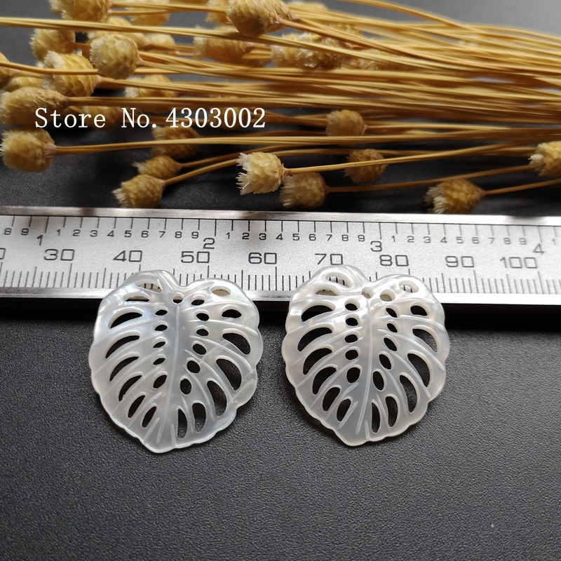 50pcs lot 24x26mm 100 Natural white Leaf Mother Of Pearl Shell for DIY Jewerly Hollow Leaf