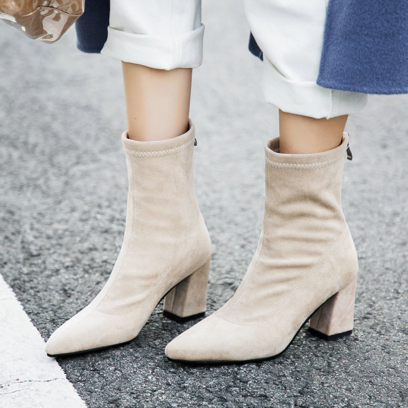 2018 Women Boots Autumn Winter Flock Leather Square High Heels Ankle Boots Zipper Sexy Pointed Toe Woman Shoes Size 43