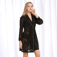 New Sexy Sleepwear Lady Summer Lace Perspective Hollow out Lace Sleepwear bath robe lingerie robe lace robe bath robe long
