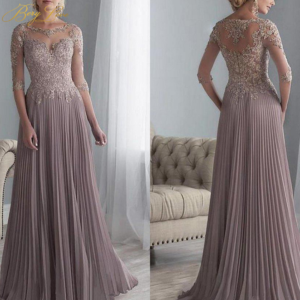 BeryLove 2020 Crumpled Chiffon Pleated Lace Applique A Line 1/2 Sleeves Mother Of The Bride Dress Long Vestido De Festa Longo