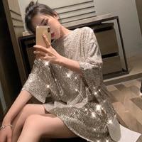 New 2019 Summer Korean Loose Tee Shirts Women Sequin Fashion Plus Size Woman Tshirts Black Basic Tees Long Top Ladies Shirt