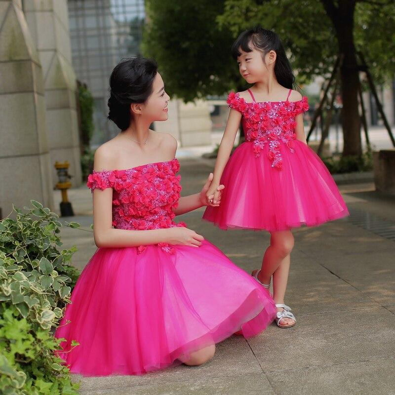 Mère fille robes assorties famille correspondant maman et fille robe tenues Parents et enfants vêtements épaule dénudée robe