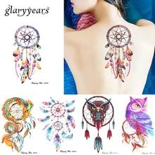 3 Pieces/set HB Dreamcatcher Owl 11 Designs Combination Temporary Arm Leg Back Shoulder Body Art Decal Tattoo Sticker For Unisex