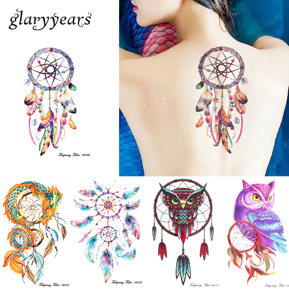 3 Pieces/set HB Dreamcatcher Owl 11 Designs Combination Temporary Arm Leg Back Shoulder Body Art Decal Tattoo Sticker for Unisex rysunek kolorowy motyle