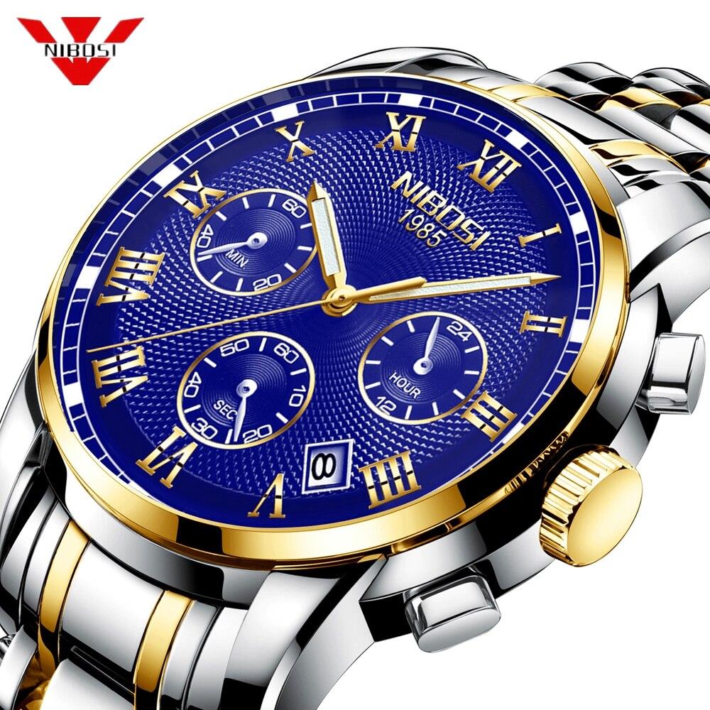 NIBOSI Montre Hommes Sport Quartz Horloge Hommes Montres Top Marque De Luxe En Acier Plein Imperméable Or Montre-Bracelet Cadeau Relogio Masculino