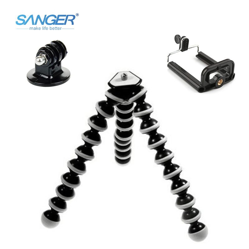 SANGER SLR Camera Mobile Phone Octopus Tripod+Mount Adapter Stand+Clip Small/Medium/Large for Xiaomi YI Gopro Hero 5/4/3+ Sj4000 universal tripod mount adapter telescopic cell phone stand holder