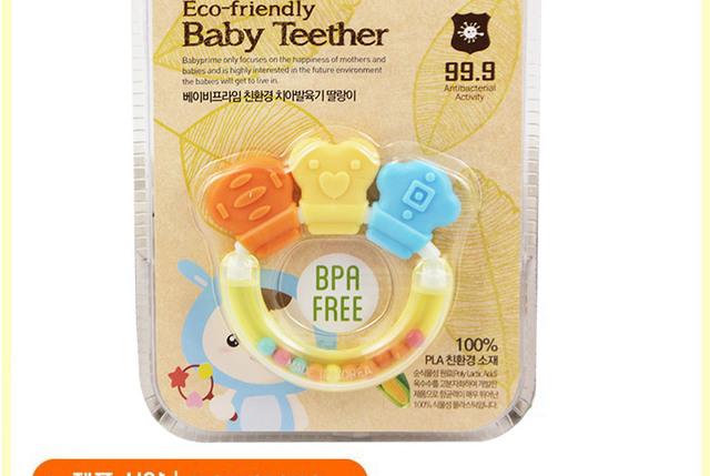 Corea del sur importó bebé de goma de silicona sonajero dientes de leche se pegan goma de mascar campana shaker seguro ambiental