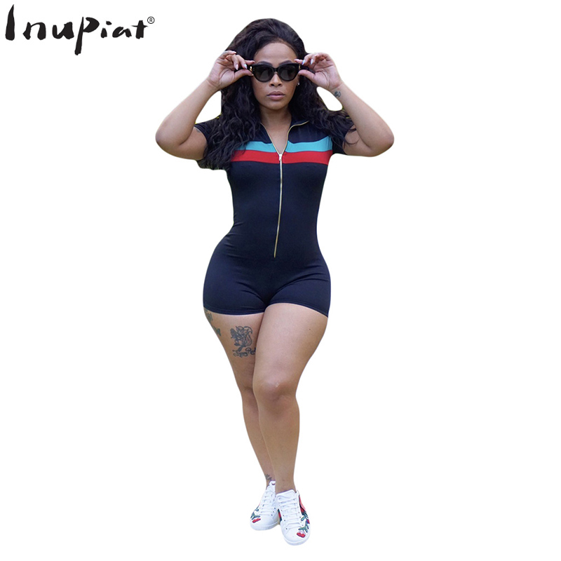 Summer Rompers Womens Jumpsuits Fashion Short Tracksuits for Women Skinny Style Stripped Fitness Jumpsuit Plus Size