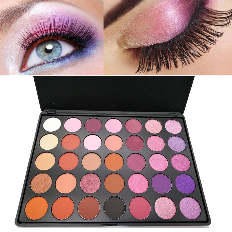 Professional eye makeup pallete <font><b>35</b></font> color eyeshadow palette high shimmer makeup eyeshadow beauty set glitter eyeshadow <font><b>kit</b></font> MOR016 image