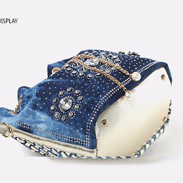 Women denim bag with rhinestones handbag with chain handle summer beach small shoulder bag ladies handwoven bucket bag
