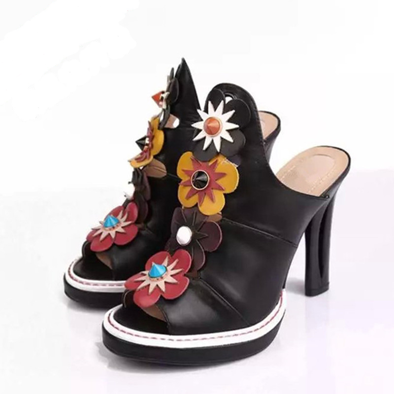 Модные модельные Босоножки с открытым носком, украшенные цветами; пикантные босоножки со шнуровкой и вырезами на необычном каблуке; модные ... - 3
