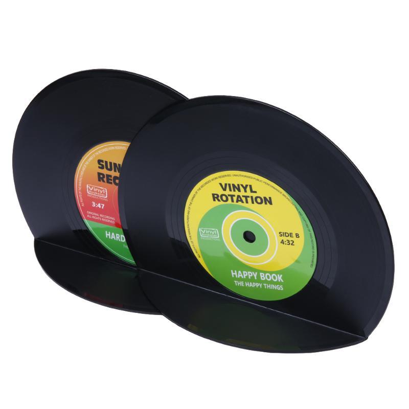 1Set/2pcs Retro Vintage Record Bookends Vinyl Book Holder Desk Organizer Desktop School Office Accessories Material Dscolar цена