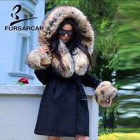 FURSARCAR 2018 Новый Настоящее шерстяной мех пальто Для женщин модные зимние из натуральной кожи черный Цвет енота меховой капюшон и манжеты Тонк