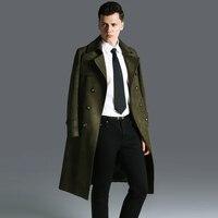S 6XL! Оленьей бархат длинный плащ пальто мужское 2017 ультра длинные сапоги выше колена верхняя одежда плюс Размеры тонкий оливковое пальто!