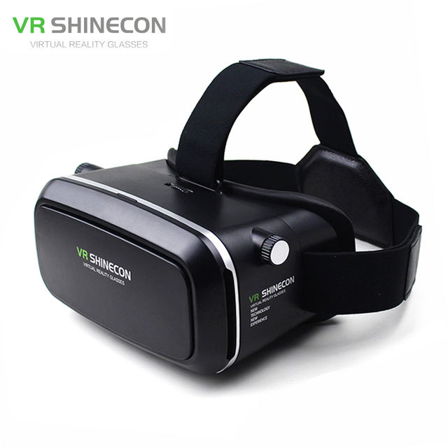 VR Shinecon VR Virtual Reality 3D Glasses Headband Cardboard Headmount Mobile 3D Movie Games for iPhone/Samsung 4.7-6 Smartphone