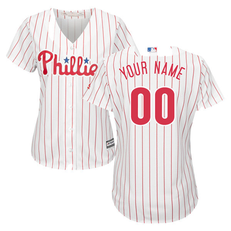 MLB Womens Philadelphia Phillies Custom Jersey White/Red Home Rhys Hoskins Jake Arrieta Maikel Franco Aaron Nola Jersey