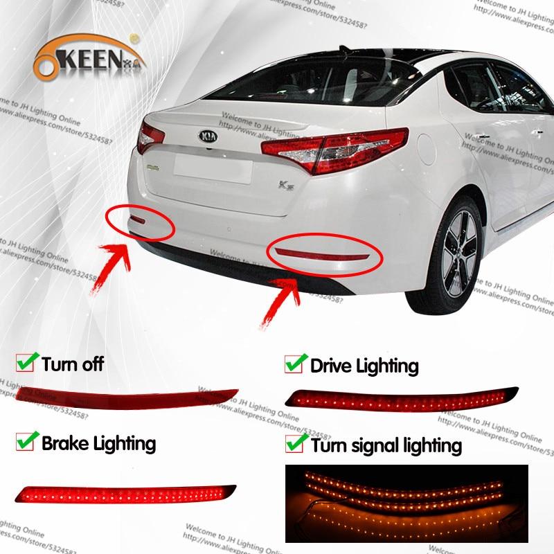 ФОТО Car Red Len LED Rear Bumper Reflector Light for Kia Optima K5 2014 2015 Amber Turn Signal Night Running Brake Rear Tail Fog Lamp