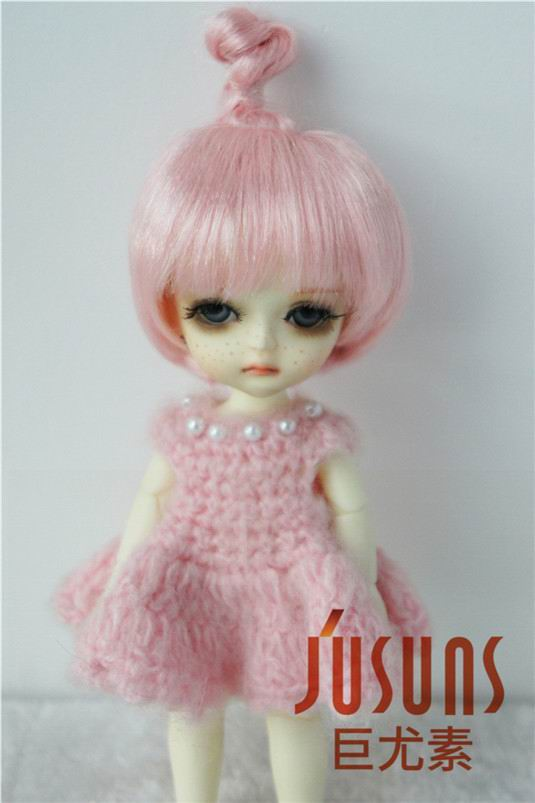 JD363 5-6 inch 13-15 CM Synthetic mohair doll wigs 1/8 Updo BJD hair Lati yellow doll accessories 363 6