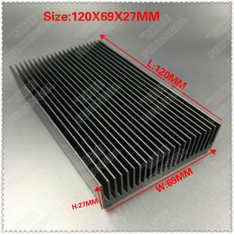 (Free shipping) high power aluminum radiator extrusion radiator <font><b>120</b></font> x69x27mm for electronic LED heat dissipation cooler cooling image