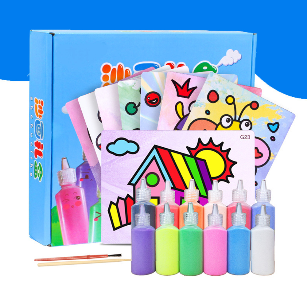 Arts & Crafts, Diy Toys Selfless 24pcs/set Children Creative Art Drawing Toys Diy Handmade Color Sand Painting Drawing Board Educational Toys For Children