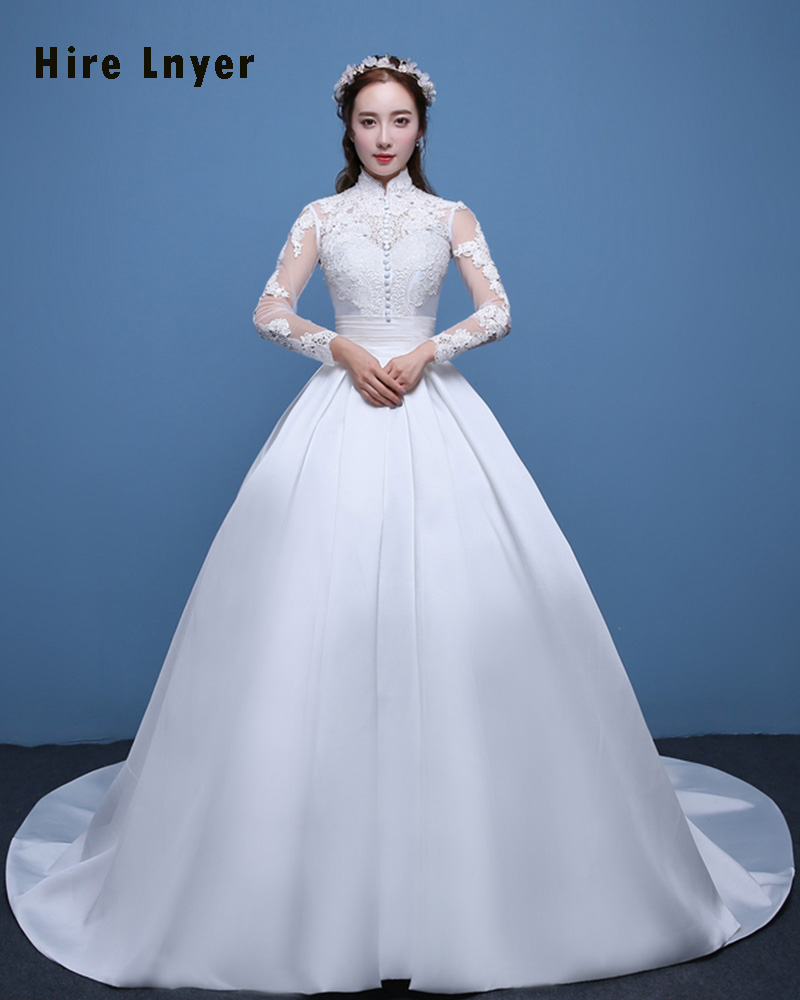 Online Shop Najowpjg Custom Made Vestido Novia High Neck Long Sleeve  Appliques Satin Ball Gown Wedding Dress Plus Size Alibaba Retail Store  6954dcc60b96
