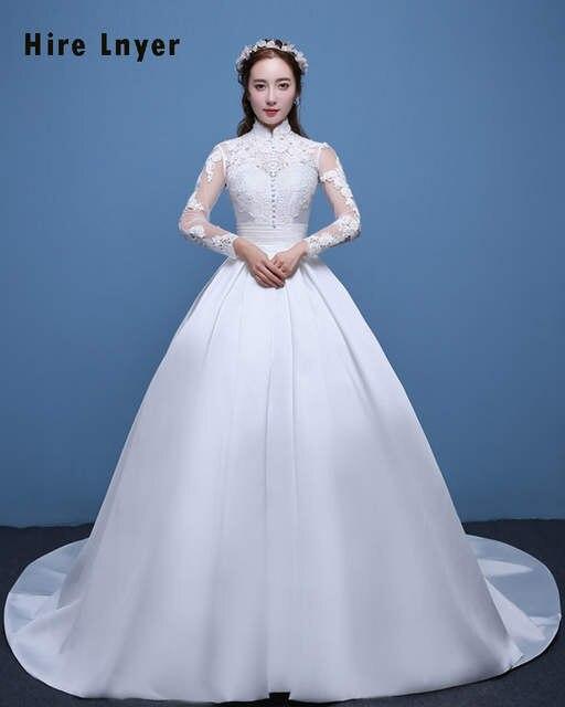 Najowpjg Custom Made Vestido Novia High Neck Long Sleeve Appliques Satin Ball  Gown Wedding Dress Plus e0082be775bd