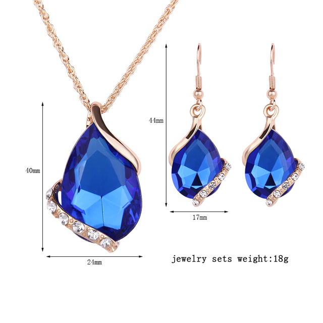2016 Fashion Clear Zirconia Jewelry Set  Alloy Gold-color Necklace Women Sexy Blue Delicate Dimand Earrings Birthday/Christmas