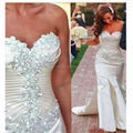 Luxuriant Crystals Beaded Sweetheart Mermaid Wedding Dress Court Train Bridal Gowns Vestido De Novia 2017