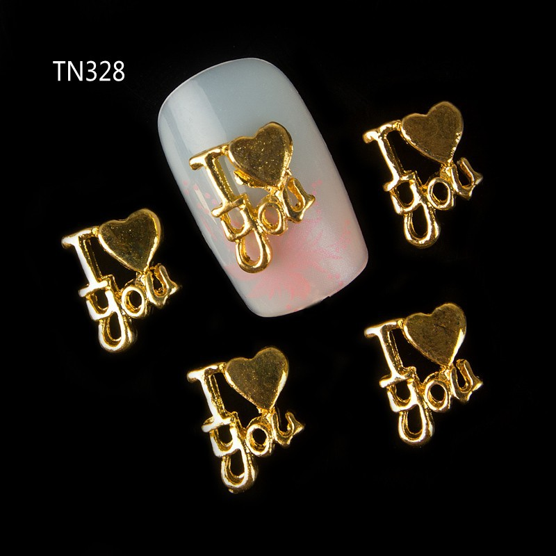 New 10pcs 3d Gold Letters I Love You Alloy Studs For Nails Charms