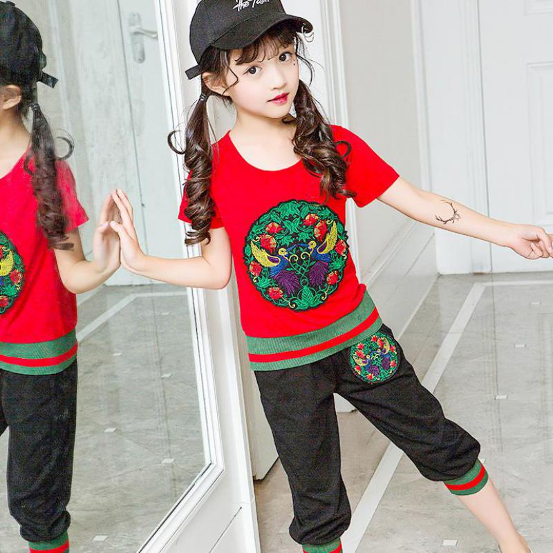 New 2017 Cotton Summer Baby Girls Clothing Sets Kids Clothes Sets Children Suits Girls Beach Clothing Sets T-shirts + Pants 9 14