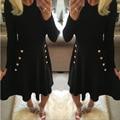 Новый 2017 Весна Осень Dress Vintage Повседневная Dress Мода Длинным Рукавом Тонкий Синий Черный Dress Женщины Бальные Платья Кнопки Vestidos