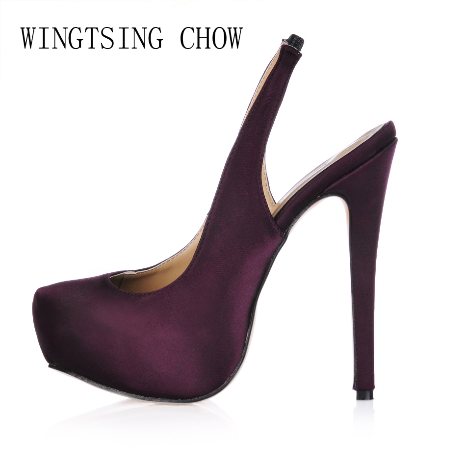 women sexy super high heels platform shoes 2015 elegant red bottom cross strap pumps ladies wedding stiletto shoes mujer zapatos 2016 New Purple Satin Sexy Dress Party Shoes Women Round Toe Stiletto High Heels Back Strap Ladies Pumps Zapatos Mujer 3463B-C5