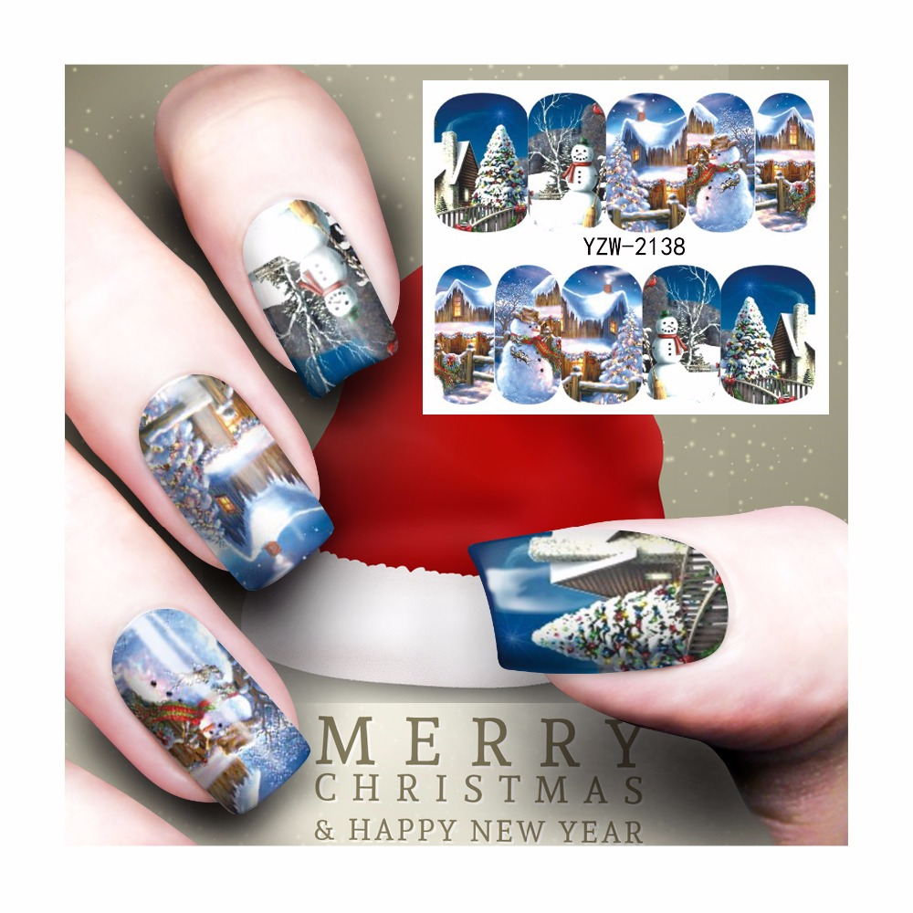 ZKO 1 Sheet Nail Art Water Transfer Christmas Design Nail Sticker Watermark Decals DIY Nail Tips Decoration Wraps Tools 2138 fwc watermark nail stickers christmas nail art water transfer sticker decals manicure wraps decor 2148