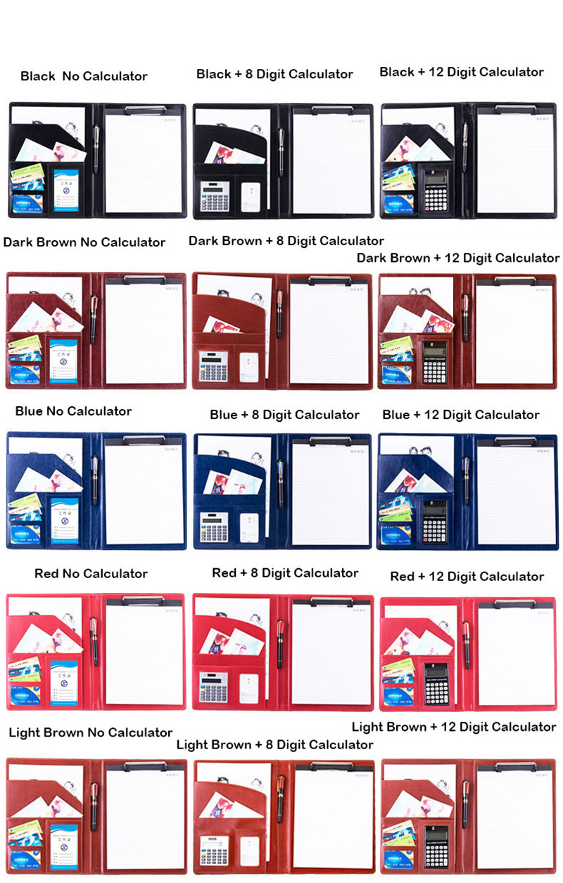 A4 PU-Leder-Aktenordner mit Taschenrechner Multifunktions-Büromaterial Organizer Manager-Dokumentenblöcke Aktentasche Padfolio-Taschen